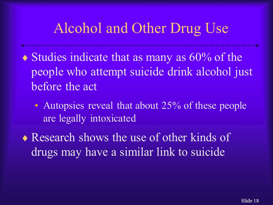 Slide 18 Alcohol and Other Drug Use  Studies indicate that as many as 60% of the people who attempt suicide drink alcohol just before the act Autopsies reveal that about 25% of these people are legally intoxicated  Research shows the use of other kinds of drugs may have a similar link to suicide