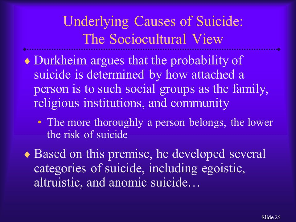 Slide 25 Underlying Causes of Suicide: The Sociocultural View  Durkheim argues that the probability of suicide is determined by how attached a person is to such social groups as the family, religious institutions, and community The more thoroughly a person belongs, the lower the risk of suicide  Based on this premise, he developed several categories of suicide, including egoistic, altruistic, and anomic suicide…