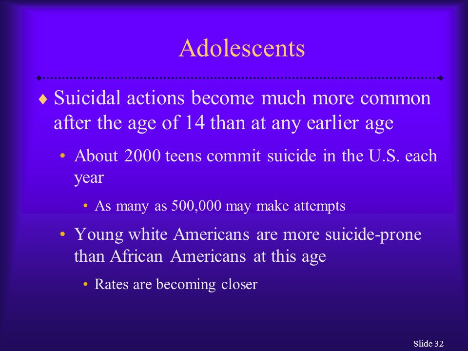 Slide 32 Adolescents  Suicidal actions become much more common after the age of 14 than at any earlier age About 2000 teens commit suicide in the U.S.