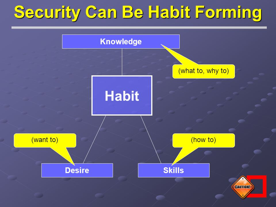 Habit Knowledge SkillsDesire (what to, why to) (how to)(want to) Security Can Be Habit Forming