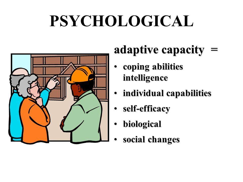 PSYCHOLOGICAL adaptive capacity = coping abilities intelligencecoping abilities intelligence individual capabilitiesindividual capabilities self-efficacyself-efficacy biologicalbiological social changessocial changes