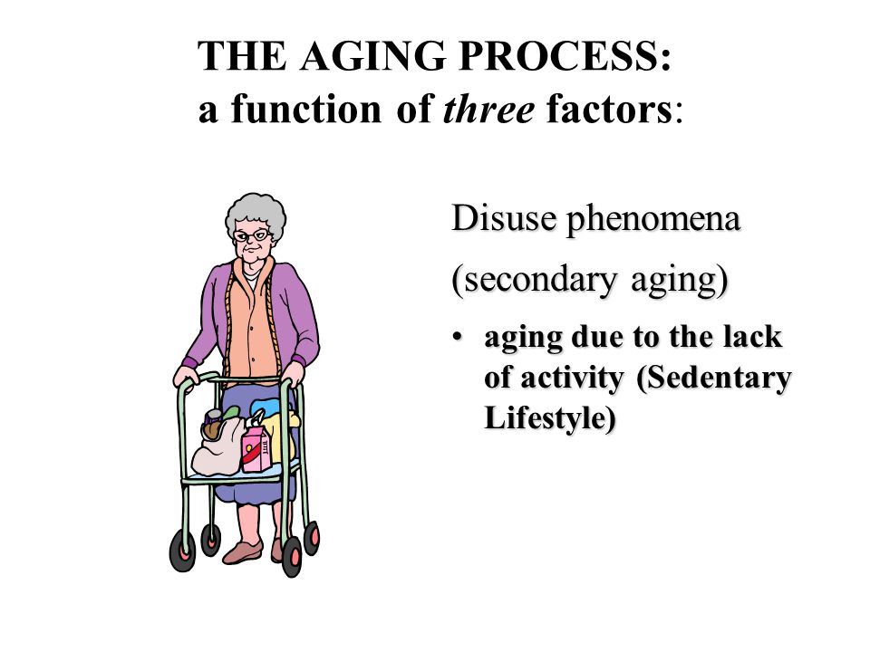 THE AGING PROCESS: a function of three factors: Disuse phenomena (secondary aging) aging due to the lack of activity (Sedentary Lifestyle)aging due to the lack of activity (Sedentary Lifestyle)