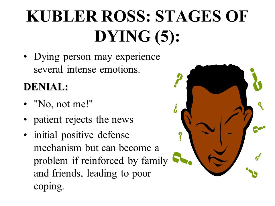 KUBLER ROSS: STAGES OF DYING (5): Dying person may experience several intense emotions.DENIAL: No, not me! patient rejects the news initial positive defense mechanism but can become a problem if reinforced by family and friends, leading to poor coping.