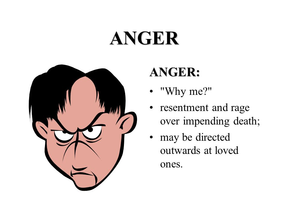 ANGER ANGER: Why me resentment and rage over impending death; may be directed outwards at loved ones.