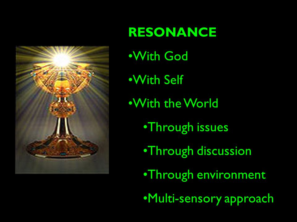 RESONANCE With God With Self With the World Through issues Through discussion Through environment Multi-sensory approach