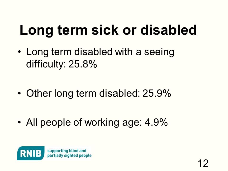 Long term sick or disabled Long term disabled with a seeing difficulty: 25.8% Other long term disabled: 25.9% All people of working age: 4.9% 12