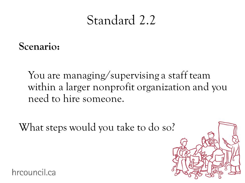 Standard 2.2 Scenario: You are managing/supervising a staff team within a larger nonprofit organization and you need to hire someone.