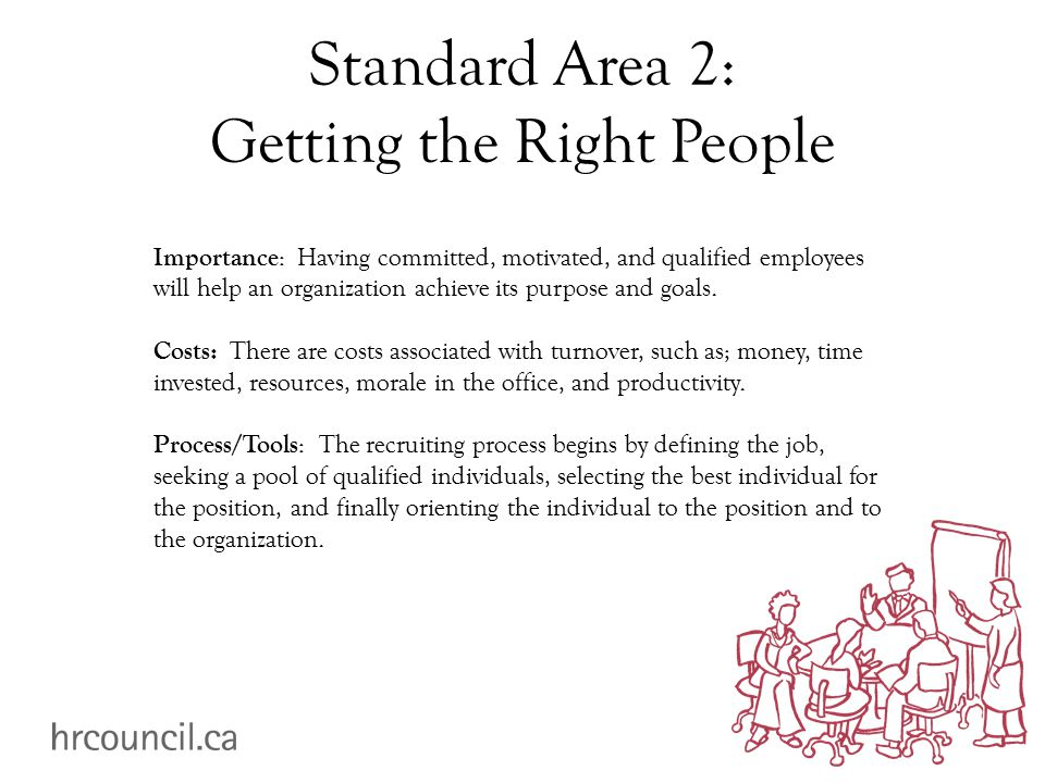 Standard Area 2: Getting the Right People Importance : Having committed, motivated, and qualified employees will help an organization achieve its purpose and goals.