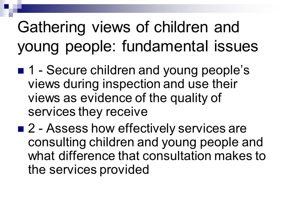 Gathering views of children and young people: fundamental issues 1 - Secure children and young people's views during inspection and use their views as evidence of the quality of services they receive 2 - Assess how effectively services are consulting children and young people and what difference that consultation makes to the services provided