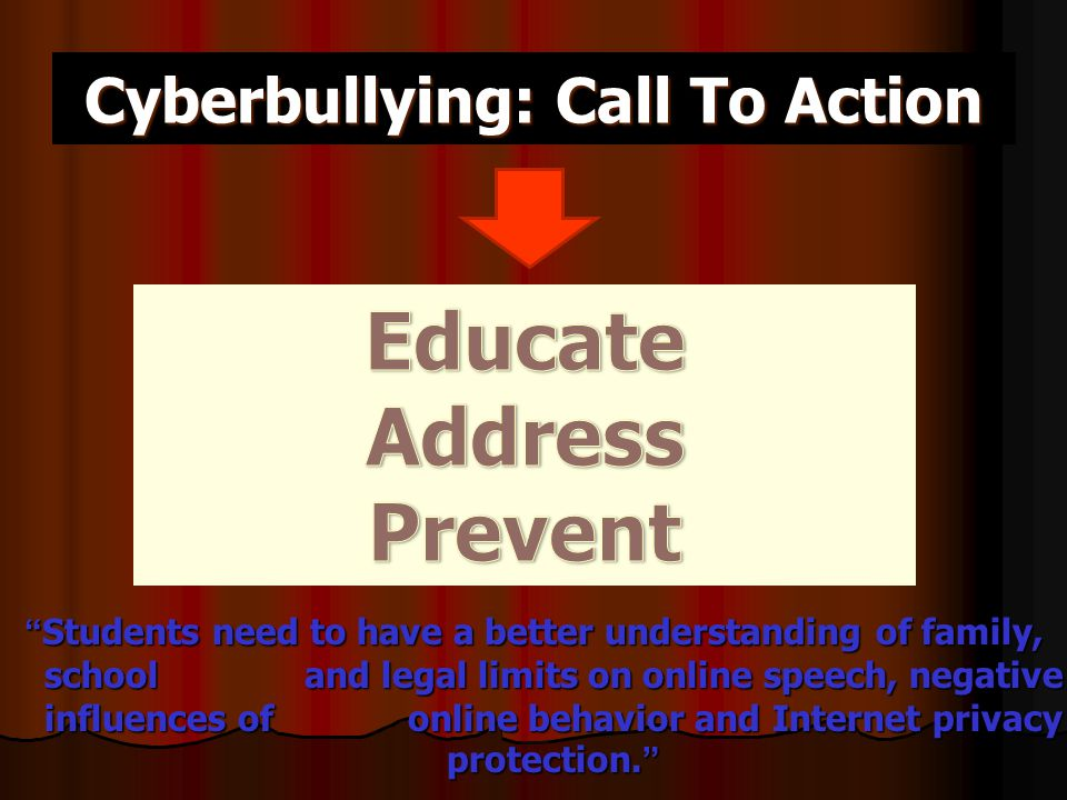Cyberbullying: Call To Action Students need to have a better understanding of family, school and legal limits on online speech, negative influences of online behavior and Internet privacy protection. -Nancy Willard, Educator's Guide to Cyberbullying -Nancy Willard, Educator's Guide to Cyberbullying