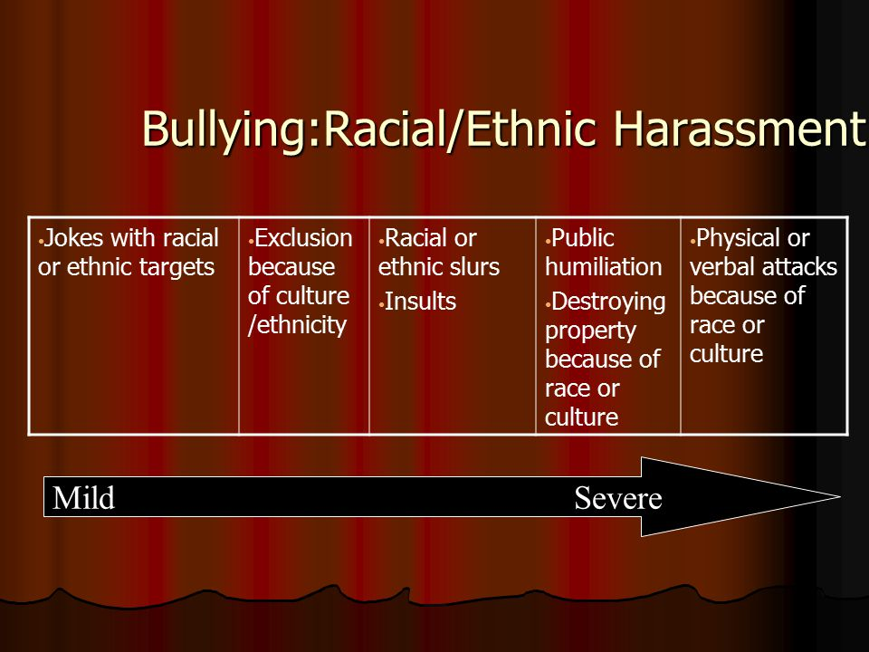Bullying:Racial/Ethnic Harassment Jokes with racial or ethnic targets Exclusion because of culture /ethnicity Racial or ethnic slurs Insults Public humiliation Destroying property because of race or culture Physical or verbal attacks because of race or culture MildSevere