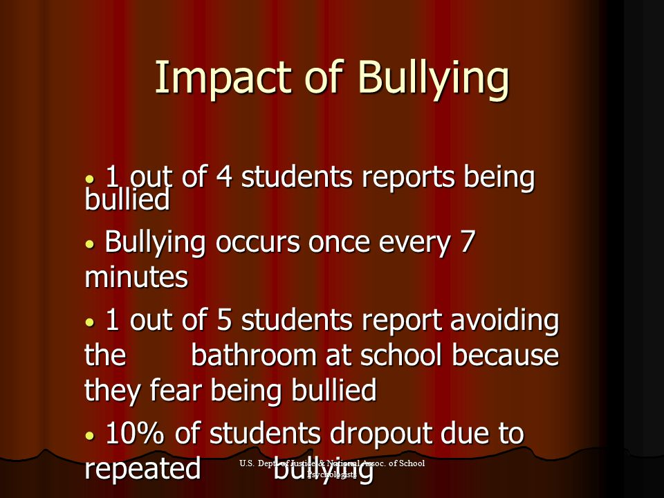 Impact of Bullying 1 out of 4 students reports being bullied 1 out of 4 students reports being bullied Bullying occurs once every 7 minutes Bullying occurs once every 7 minutes 1 out of 5 students report avoiding the bathroom at school because they fear being bullied 1 out of 5 students report avoiding the bathroom at school because they fear being bullied 10% of students dropout due to repeated bullying 10% of students dropout due to repeated bullying U.S.