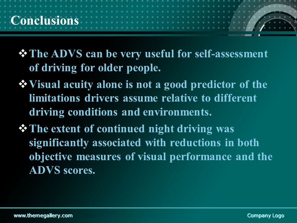 www.themegallery.comCompany Logo Conclusions  The ADVS can be very useful for self-assessment of driving for older people.