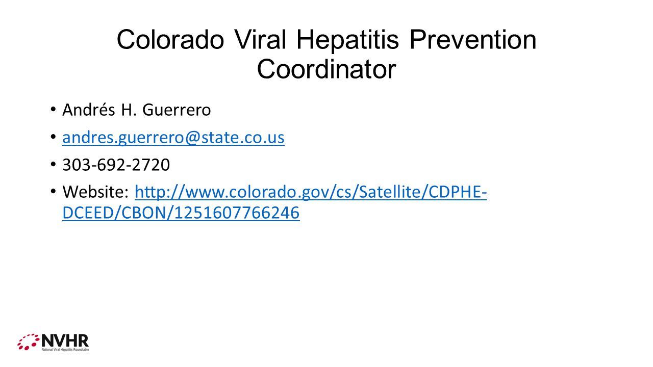 Colorado Viral Hepatitis Prevention Coordinator Andrés H.