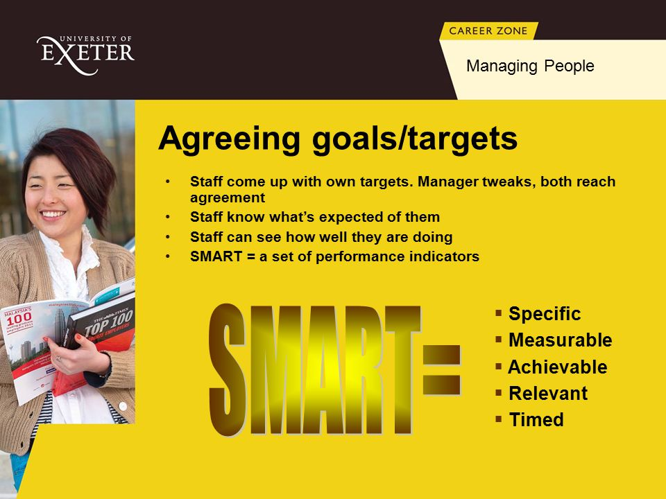 Agreeing goals/targets  Specific  Measurable  Achievable  Relevant  Timed Staff come up with own targets.