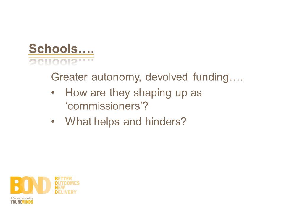 Greater autonomy, devolved funding…. How are they shaping up as 'commissioners'.