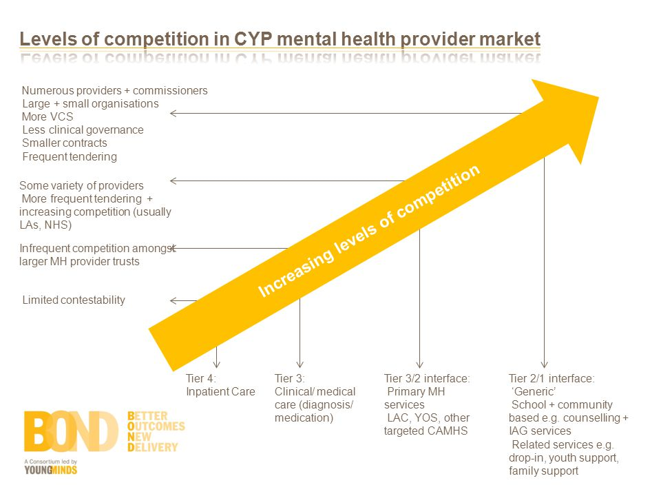 Tier 4: Inpatient Care Infrequent competition amongst larger MH provider trusts Some variety of providers More frequent tendering + increasing competition (usually LAs, NHS) Numerous providers + commissioners Large + small organisations More VCS Less clinical governance Smaller contracts Frequent tendering Tier 3: Clinical/ medical care (diagnosis/ medication) Tier 3/2 interface: Primary MH services LAC, YOS, other targeted CAMHS Tier 2/1 interface: 'Generic' School + community based e.g.