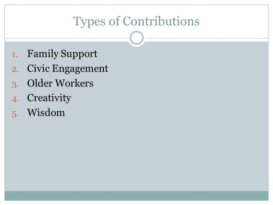 Types of Contributions 1. Family Support 2. Civic Engagement 3.