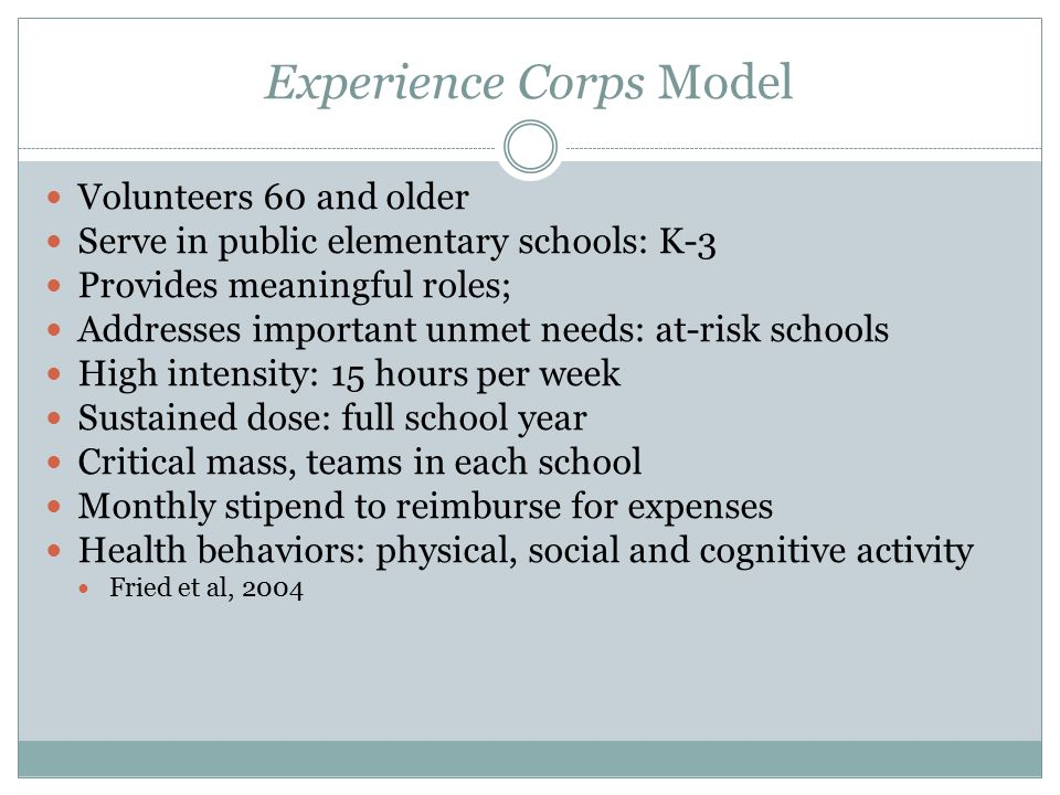 Experience Corps Model Volunteers 60 and older Serve in public elementary schools: K-3 Provides meaningful roles; Addresses important unmet needs: at-risk schools High intensity: 15 hours per week Sustained dose: full school year Critical mass, teams in each school Monthly stipend to reimburse for expenses Health behaviors: physical, social and cognitive activity Fried et al, 2004