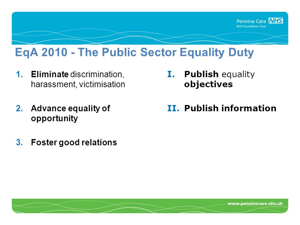 EqA 2010 - The Public Sector Equality Duty 1.Eliminate discrimination, harassment, victimisation 2.Advance equality of opportunity 3.Foster good relations I.Publish equality objectives II.Publish information