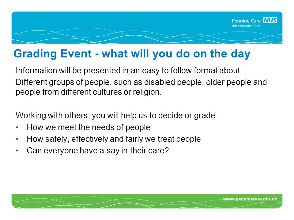 Grading Event - what will you do on the day Information will be presented in an easy to follow format about: Different groups of people, such as disabled people, older people and people from different cultures or religion.