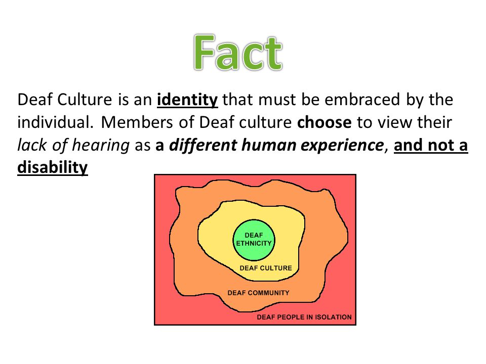 Deaf Culture is an identity that must be embraced by the individual.