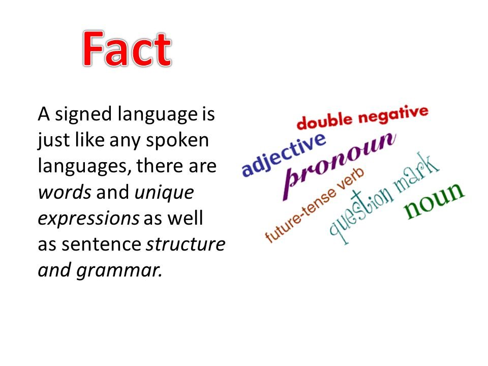 A signed language is just like any spoken languages, there are words and unique expressions as well as sentence structure and grammar.
