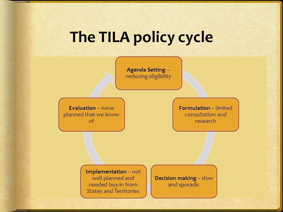 The TILA policy cycle Agenda Setting – reducing eligibility Formulation – limited consultation and research Decision making – slow and sporadic Implementation – not well planned and needed buy-in from States and Territories Evaluation – none planned that we know of