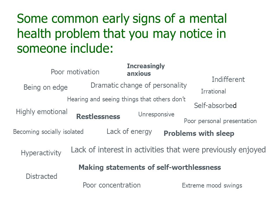 Some common early signs of a mental health problem that you may notice in someone include: Being on edge Restlessness Increasingly anxious Poor motivation Poor concentration Unresponsive Indifferent Self-absorbed Becoming socially isolated Lack of interest in activities that were previously enjoyed Problems with sleep Lack of energy Highly emotional Irrational Distracted Dramatic change of personality Extreme mood swings Hyperactivity Making statements of self-worthlessness Poor personal presentation Hearing and seeing things that others don't