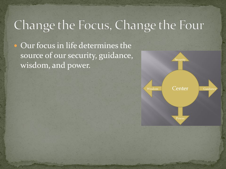 Our focus in life determines the source of our security, guidance, wisdom, and power.