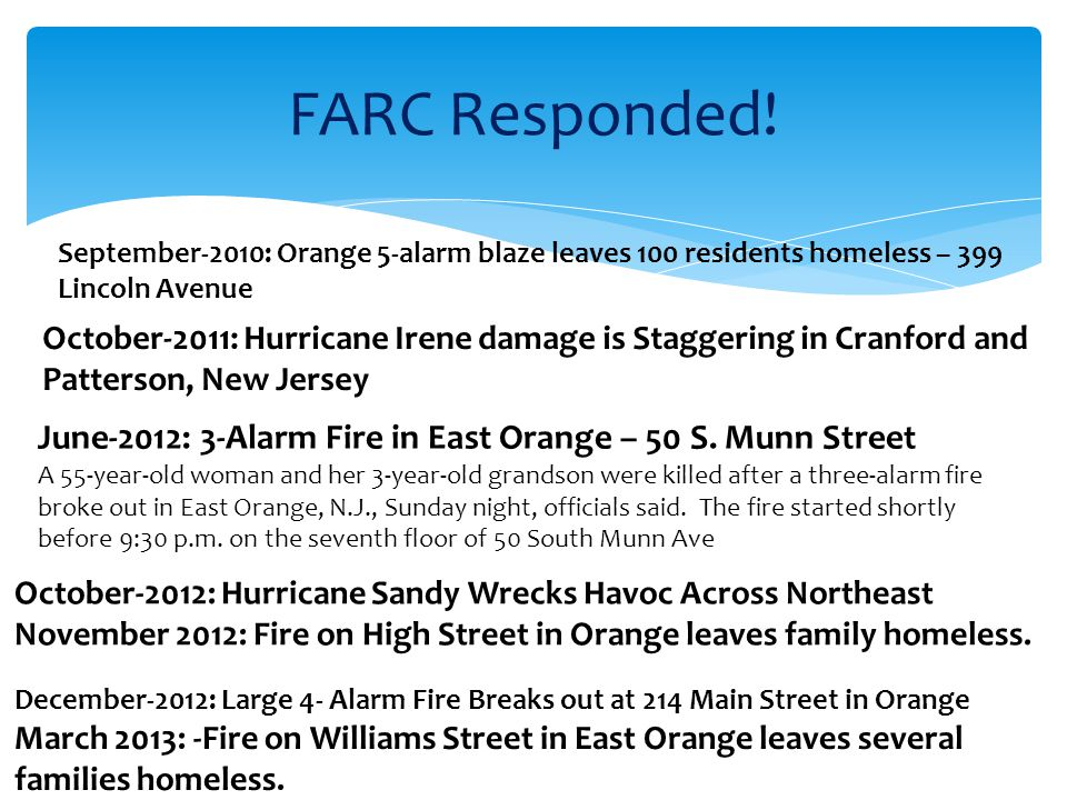 FARC Responded. June-2012: 3-Alarm Fire in East Orange – 50 S.