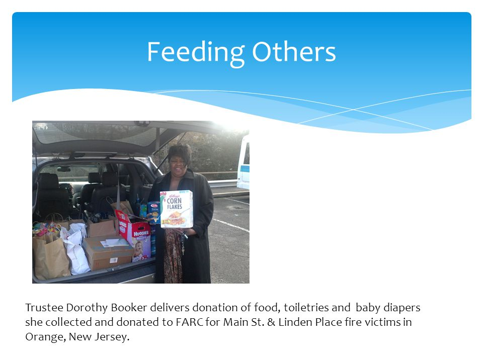 Feeding Others Trustee Dorothy Booker delivers donation of food, toiletries and baby diapers she collected and donated to FARC for Main St.