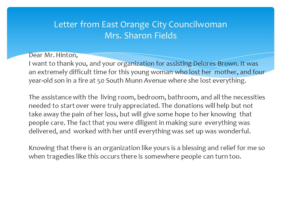 Letter from East Orange City Councilwoman Mrs. Sharon Fields Dear Mr.