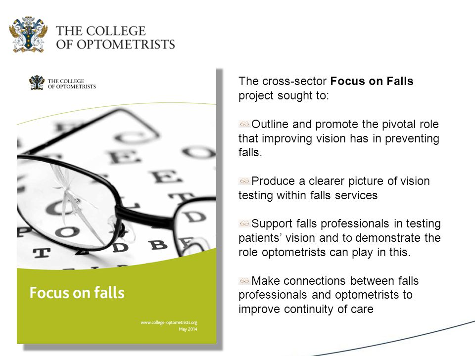 The cross-sector Focus on Falls project sought to: Outline and promote the pivotal role that improving vision has in preventing falls.
