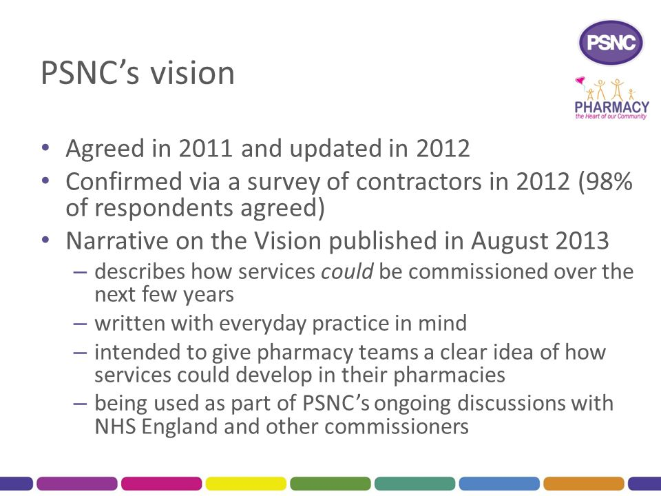 PSNC's vision Agreed in 2011 and updated in 2012 Confirmed via a survey of contractors in 2012 (98% of respondents agreed) Narrative on the Vision published in August 2013 – describes how services could be commissioned over the next few years – written with everyday practice in mind – intended to give pharmacy teams a clear idea of how services could develop in their pharmacies – being used as part of PSNC's ongoing discussions with NHS England and other commissioners