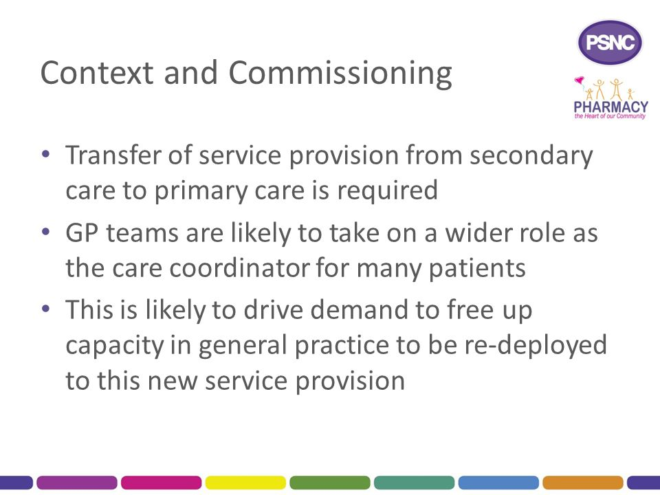 Context and Commissioning Transfer of service provision from secondary care to primary care is required GP teams are likely to take on a wider role as the care coordinator for many patients This is likely to drive demand to free up capacity in general practice to be re-deployed to this new service provision