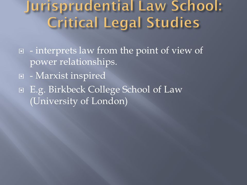  - interprets law from the point of view of power relationships.
