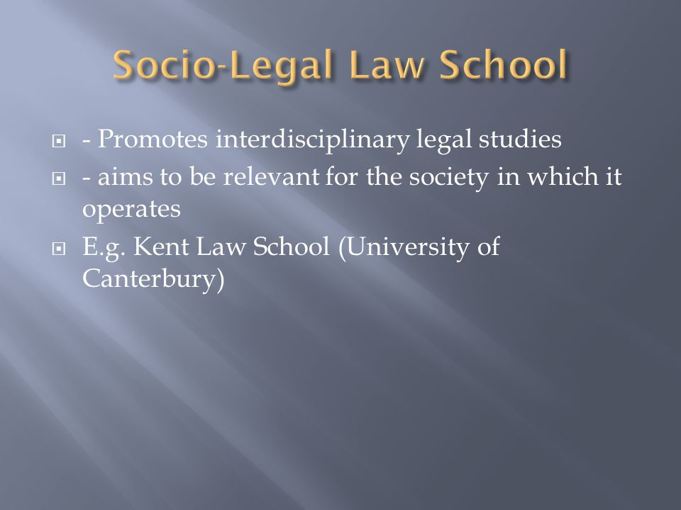  - Promotes interdisciplinary legal studies  - aims to be relevant for the society in which it operates  E.g.