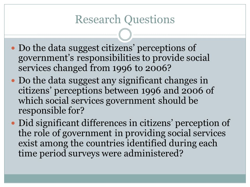 Research Questions Do the data suggest citizens' perceptions of government's responsibilities to provide social services changed from 1996 to 2006.