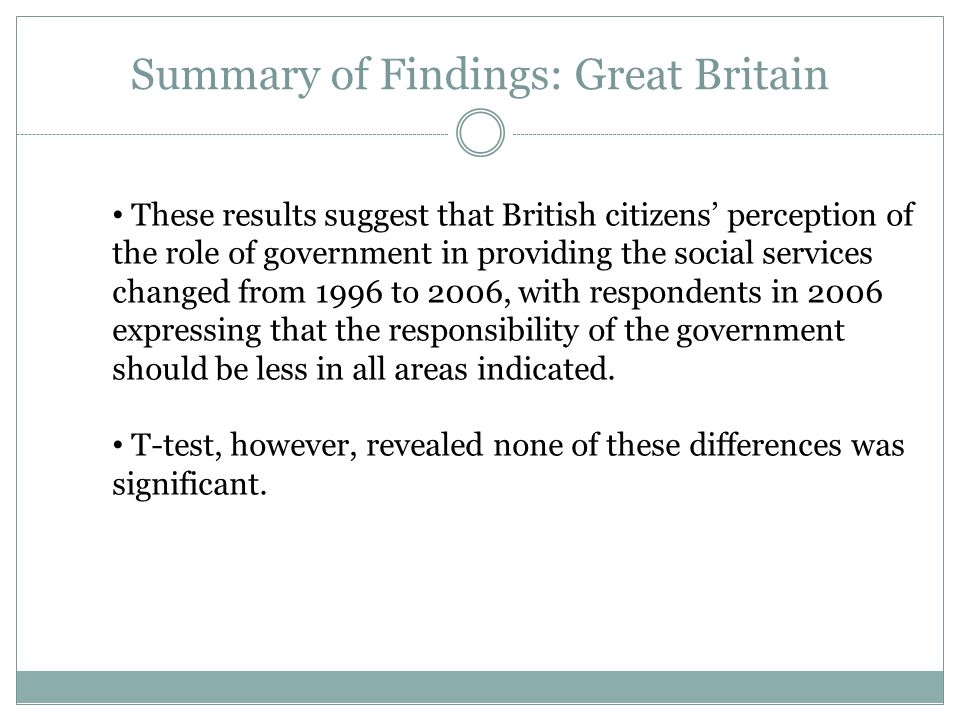 Summary of Findings: Great Britain These results suggest that British citizens' perception of the role of government in providing the social services changed from 1996 to 2006, with respondents in 2006 expressing that the responsibility of the government should be less in all areas indicated.