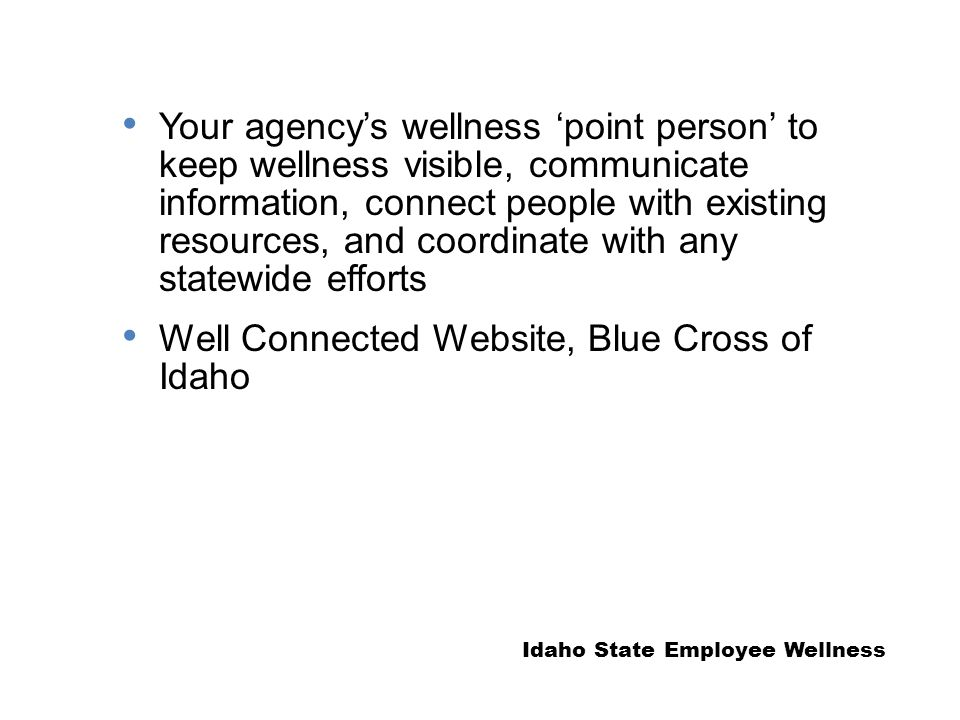 Your agency's wellness 'point person' to keep wellness visible, communicate information, connect people with existing resources, and coordinate with any statewide efforts Well Connected Website, Blue Cross of Idaho Idaho State Employee Wellness