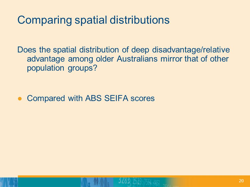 20 Comparing spatial distributions Does the spatial distribution of deep disadvantage/relative advantage among older Australians mirror that of other population groups.