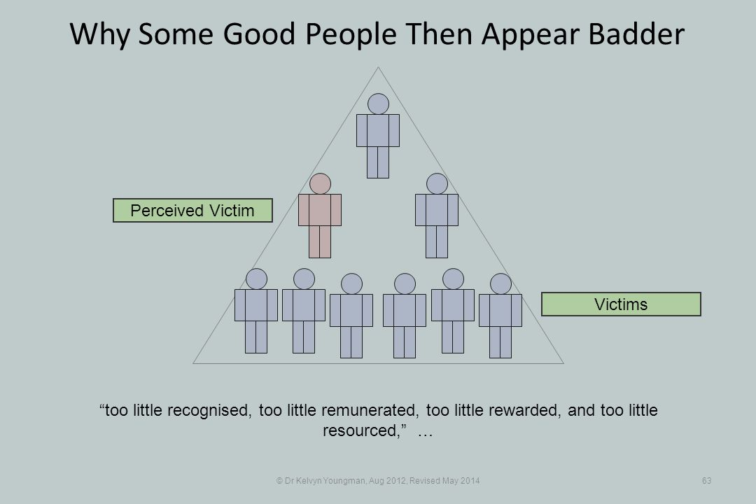 © Dr Kelvyn Youngman, Aug 2012, Revised May 201463 Why Some Good People Then Appear Badder too little recognised, too little remunerated, too little rewarded, and too little resourced, … Perceived Victim Victims