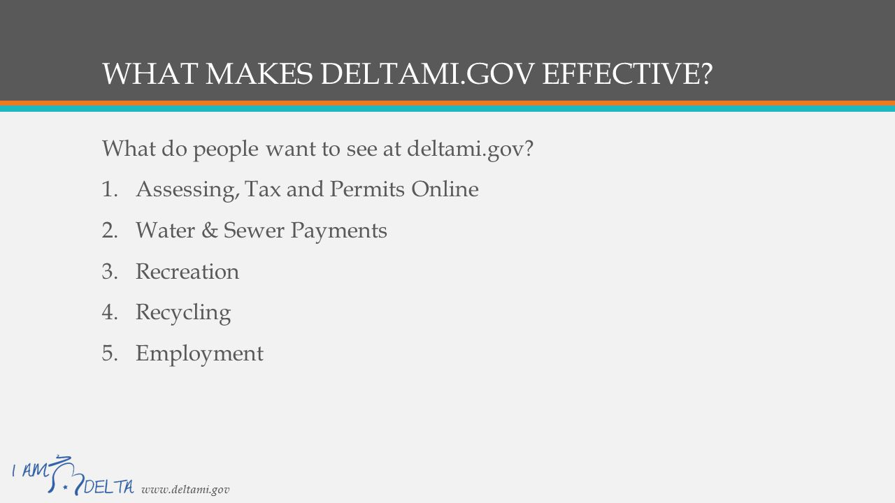 WHAT MAKES DELTAMI.GOV EFFECTIVE. What do people want to see at deltami.gov.