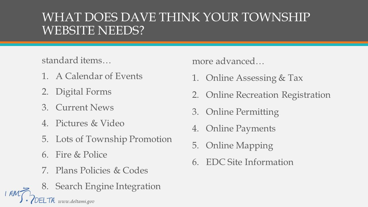 WHAT DOES DAVE THINK YOUR TOWNSHIP WEBSITE NEEDS.