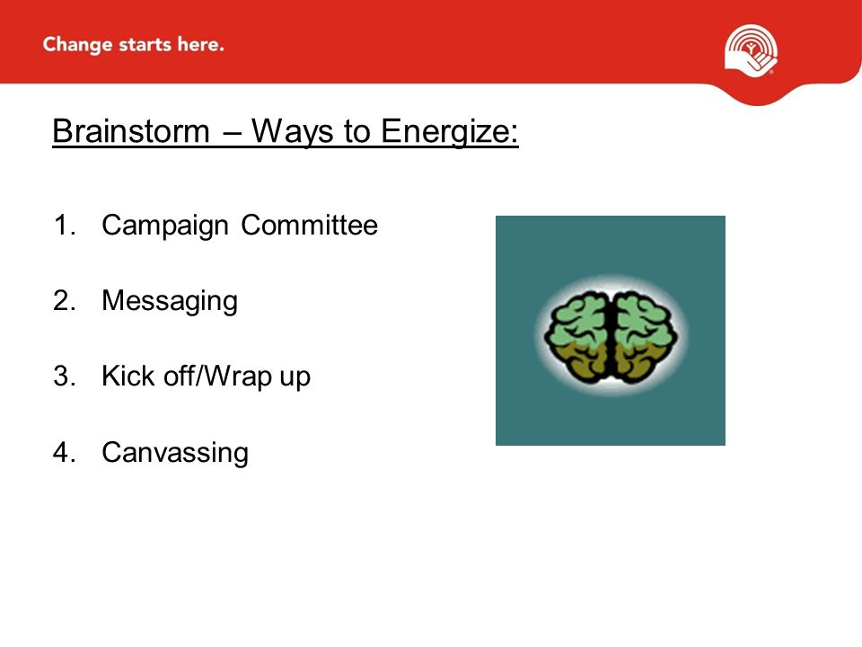 Brainstorm – Ways to Energize: 1.Campaign Committee 2.Messaging 3.Kick off/Wrap up 4.Canvassing
