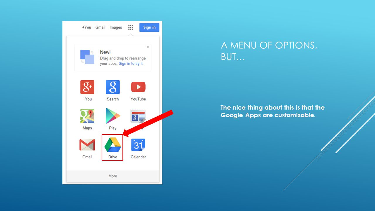 A MENU OF OPTIONS, BUT… The nice thing about this is that the Google Apps are customizable.