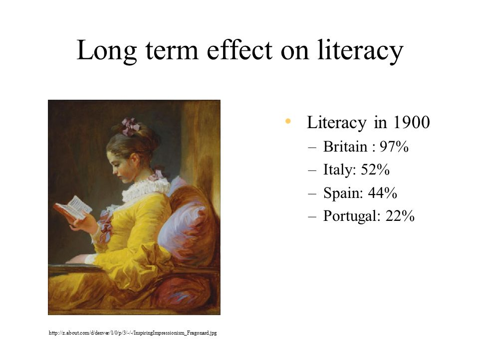 Long term effect on literacy Literacy in 1900 –Britain : 97% –Italy: 52% –Spain: 44% –Portugal: 22% http://z.about.com/d/denver/1/0/p/3/-/-/InspiringImpressionism_Fragonard.jpg