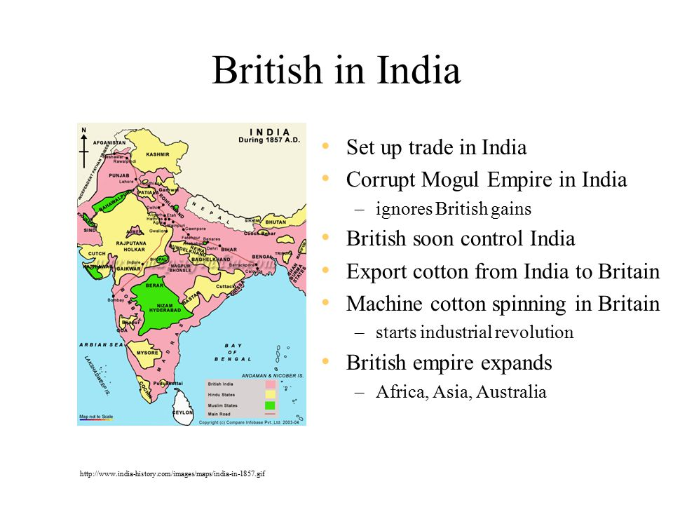 British in India Set up trade in India Corrupt Mogul Empire in India –ignores British gains British soon control India Export cotton from India to Britain Machine cotton spinning in Britain –starts industrial revolution British empire expands –Africa, Asia, Australia http://www.india-history.com/images/maps/india-in-1857.gif