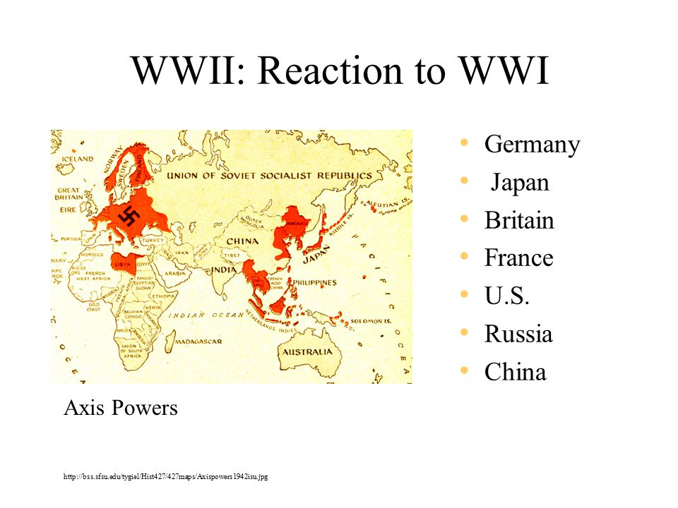 WWII: Reaction to WWI Germany Japan Britain France U.S.